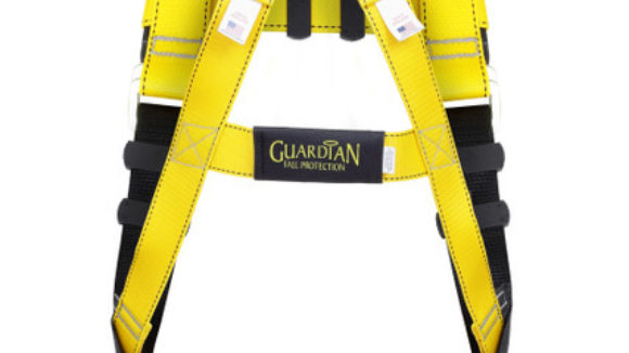 Safety harness features steel hardware