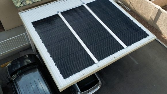 Solar panels fit parking structures