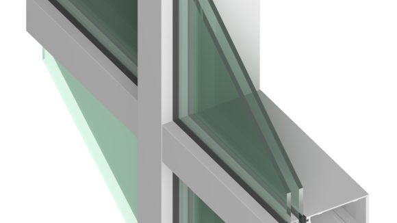 Curtainwall has concealed fastener joinery