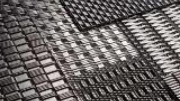 Woven metal works indoors, outdoors