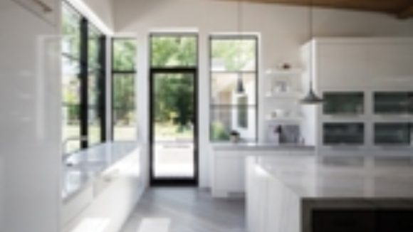 Windows, doors have large glass areas