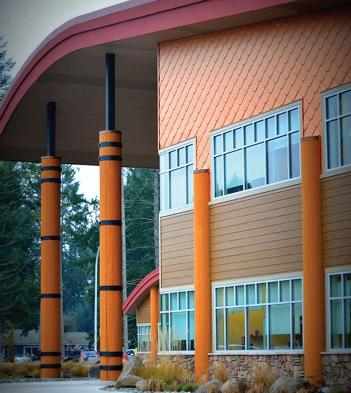 Due to its organic aesthetics, approximately 5,000 square feet of ATAS International Inc.'s 0.032-aluminum CastleTop in Coppertone was chosen to clad the sides of the Nisqually Tribe Administration Building.
