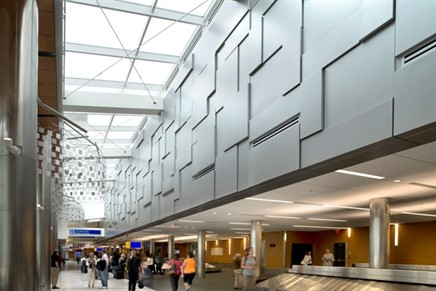Engberg Anderson Inc. specified Dri-Design's metal wall panels and column covers for the baggage claim area at General Mitchell International Airport.