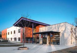 Manuel Zeitlin Architects specified Kingspan Insulated Panels Inc.'s 2-inch-thick Optimo and 300 R Striated metal wall panels for the exterior and interior of Rocketship Nashville Northeast Elementary School.