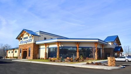 In eastern New York, there's an expansive recreational vehicle (RV) dealership built with multiple metal building systems.
