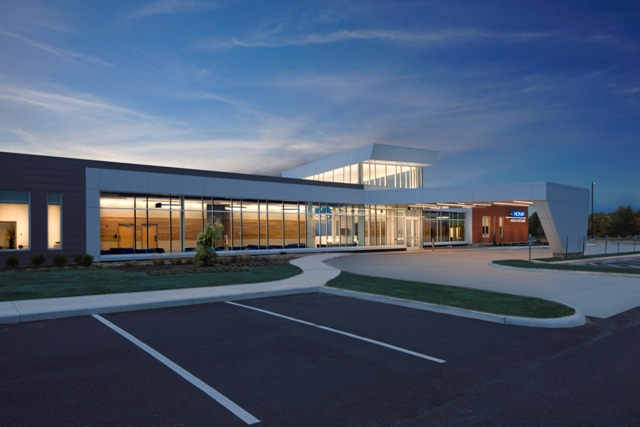 Domokur Architects specified 6,554 square feet of CENTRIA's concealed fastener IW-10 metal wall panels to create horizontal lines intended to mimic the planar nature of nearby fields for Northern Ohio Medical Specialists' medical office building in Clyde, Ohio.