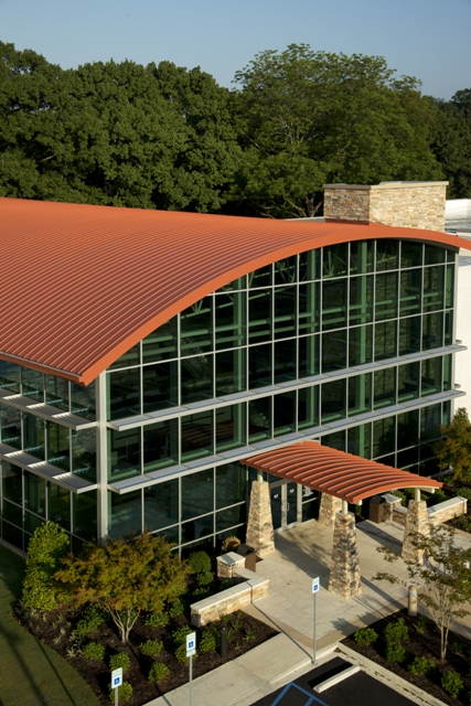 Birchfield Penuel & Associates specified a mix of materials for the two-story, 78,000-square-foot Western Health Center including adhered masonry veneer, precast concrete, 10,000 square feet of Petersen Aluminum Corp.'s Tite-Loc panels finished in Cool Color Cardinal Red and 8,000 square feet of Petersen Aluminum's Reveal panels in Sierra Tan for exterior walls.