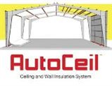 Thermal Design Inc.'s AutoCeil insulation and finishing system for metal building roofs and walls has an automated installation process that provides a tensioned ceiling support system for uncompressed, full-thickness insulation.